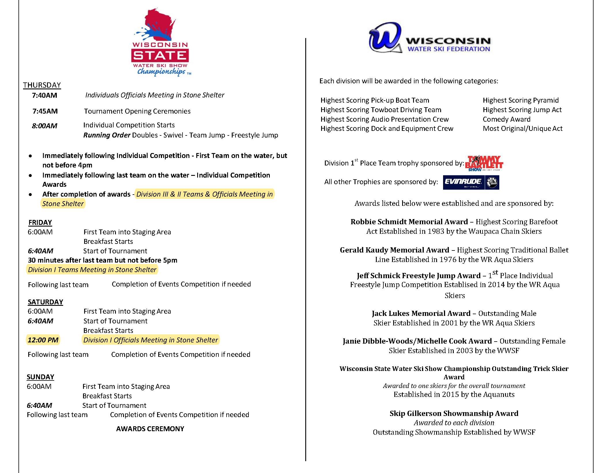 Schedule of Events 19